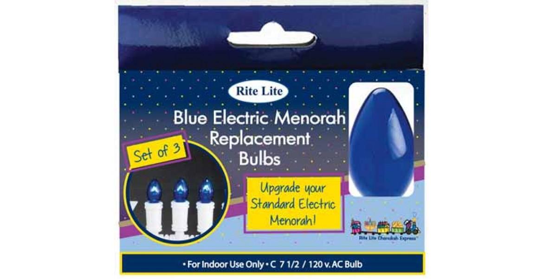 Blue Electric Menorah Bulbs - Set of 3