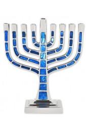 Blue Jeweled Mosaic Kenesset Style Aluminum Menorah