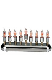 Contemporary Highly Polished Chrome Plated Electric Menorah with Flickering Bulbs