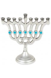 Contemporary Star with Blue Accents Aluminum Menorah