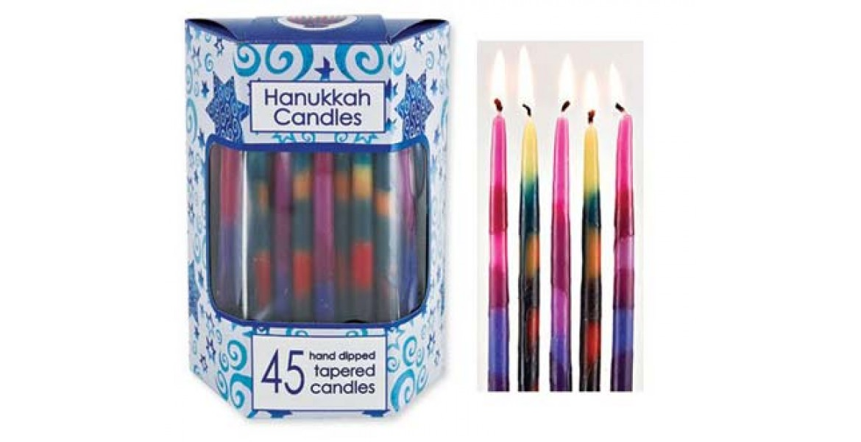 Deluxe Tapered Multi Splash Hanukkah Candles