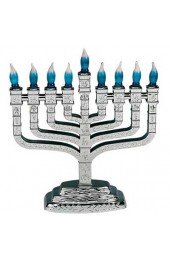 Silvertone Plastic Electric Knesset Menorah with the Symbols of the Twelve Tribes - Blue Bulbs