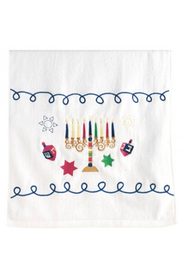 Embroidered Hanukkah Hand Towel