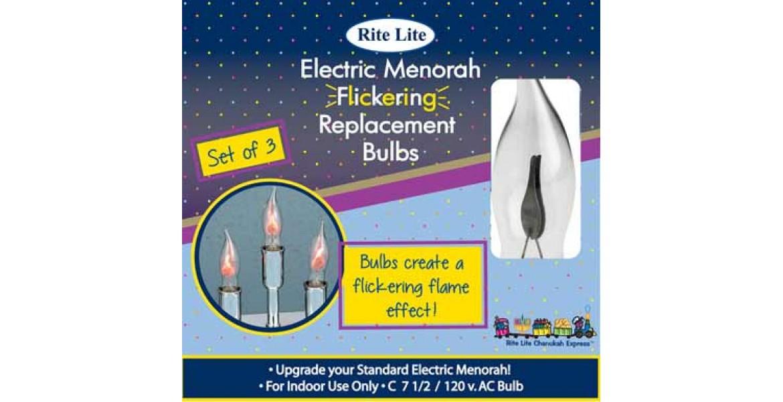 Flickering Flame Shaped Menorah Bulbs - Set of 3