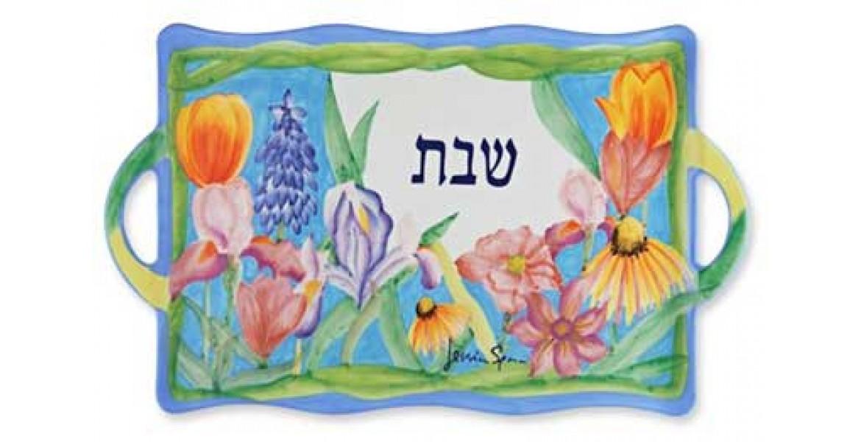 Hand Painted Flowers Shabbat Tray