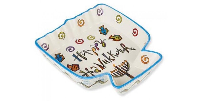 Happy Hanukkah Ceramic Menorah Tidbit Server