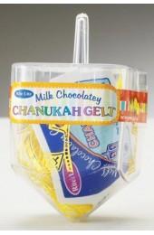 Plastic Dreidel Filled with Chanukah Gelt
