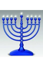 Traditional Blue LED Battery Menorah withBlue Crystal-Flake Finish