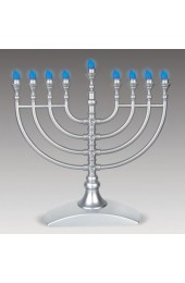 Traditional Silver LED Battery Menorah with Silver Crystal-Flake Finish