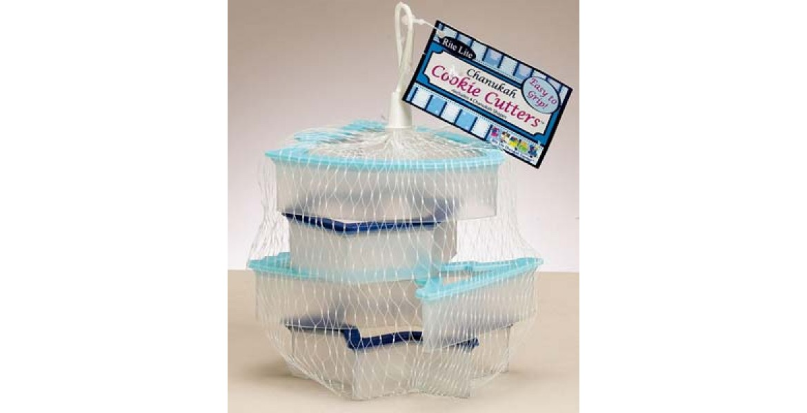 Two-Tone Chanukah Cookie Cutters 4 Assorted Shapes in Mesh Bag