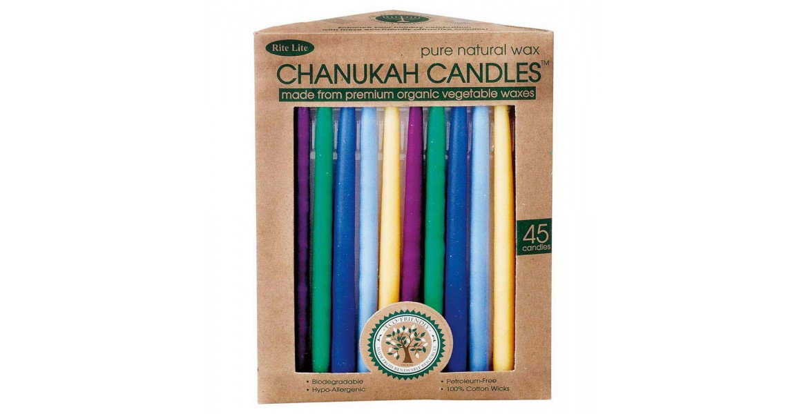 Organic Beeswax Chanukah Candles - Multi Color