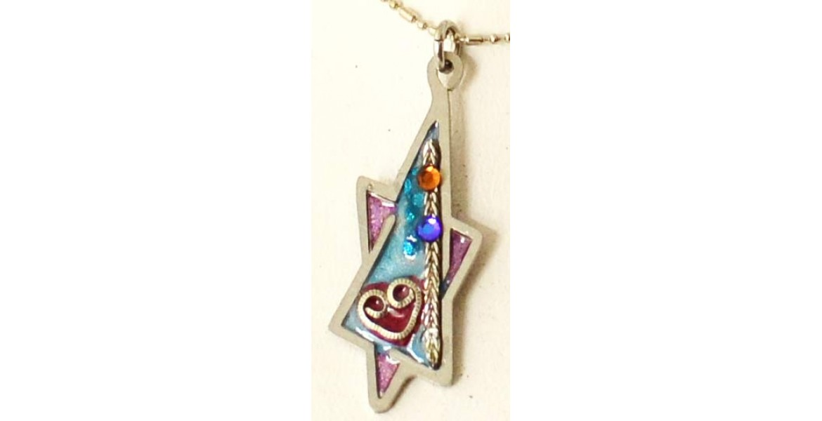 Ayala Bar Star Of David Necklace With Inset Stones