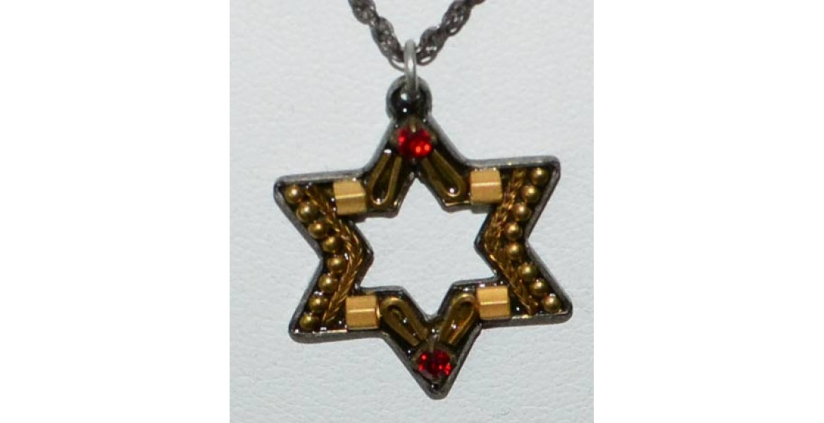 Ayala Bar Star of David Necklace WithRed Stones