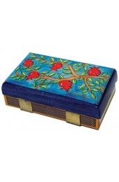 Yair Emanuel Kitchen Size Painted Wooden Match Box - Pomegranate