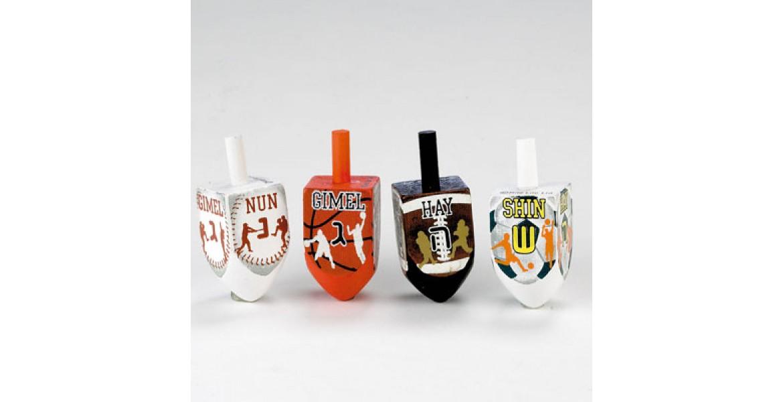 4 Large Painted Wood Sports Dreidels