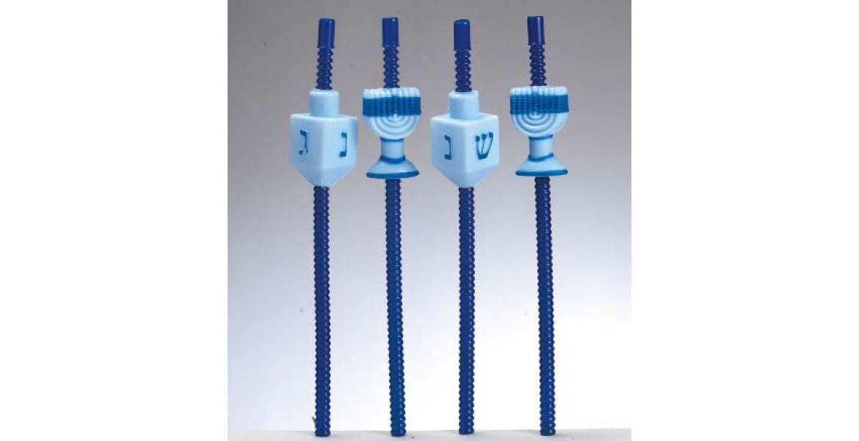 Chanukah Dreidel and Menorahs straws