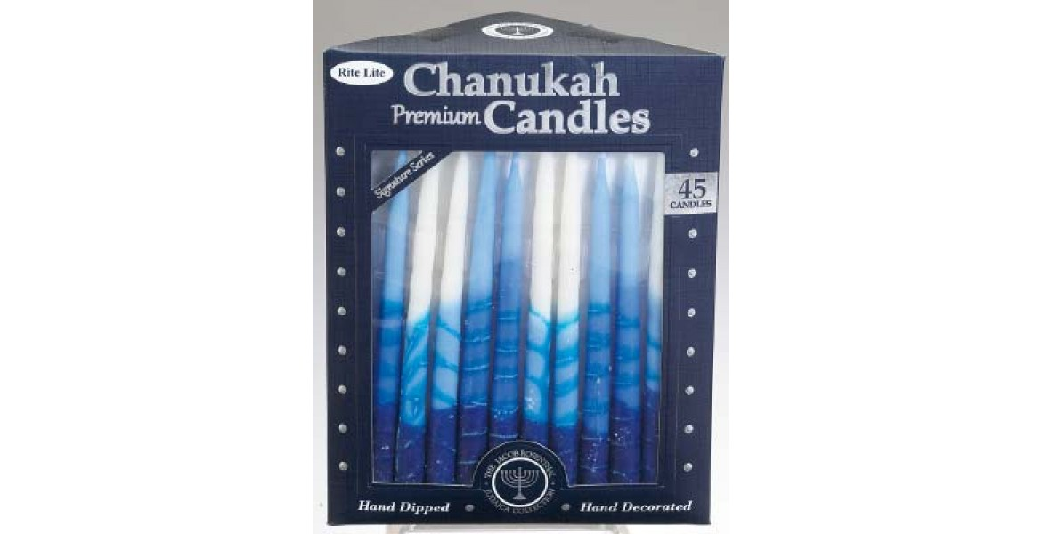 Hand Crafted Chanukah Candles - Blue and White
