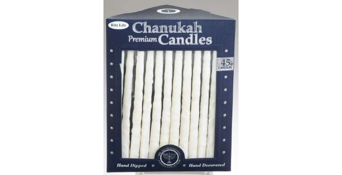 Hand Crafted Chanukah Candles - Frosted White