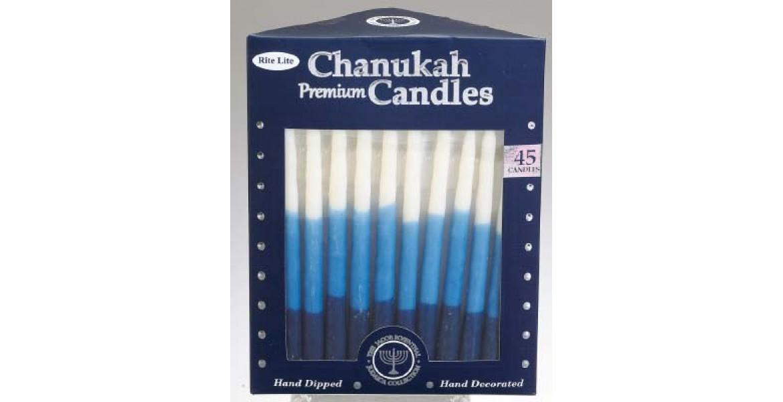 Premium Chanukah Candles - Blue White Tri-Color