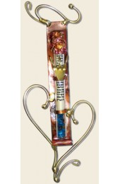 Copper backed wedding mezuzah with brass heart Designed By Gary Rosenthal