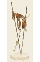 Gary Rosenthal Designed Copper Chai sculpture on marble