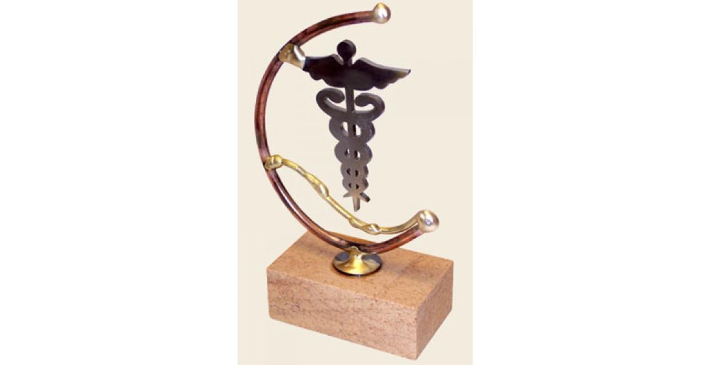 Gary Rosenthal Designed Laser-cut steel Medical Caduceus sculpture