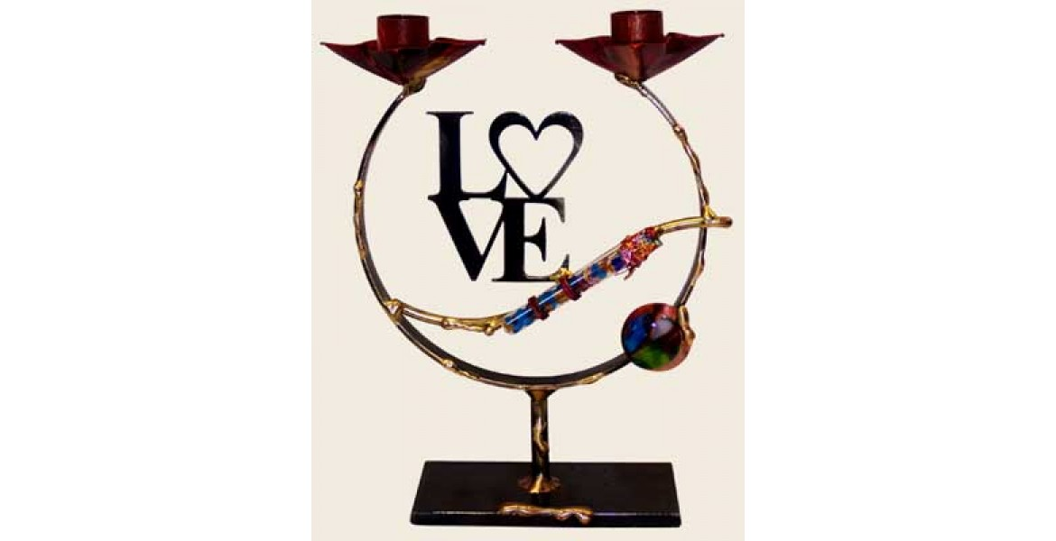 Small Laser-Cut Love Shards Candlestick Designed By Gary Rosenthal
