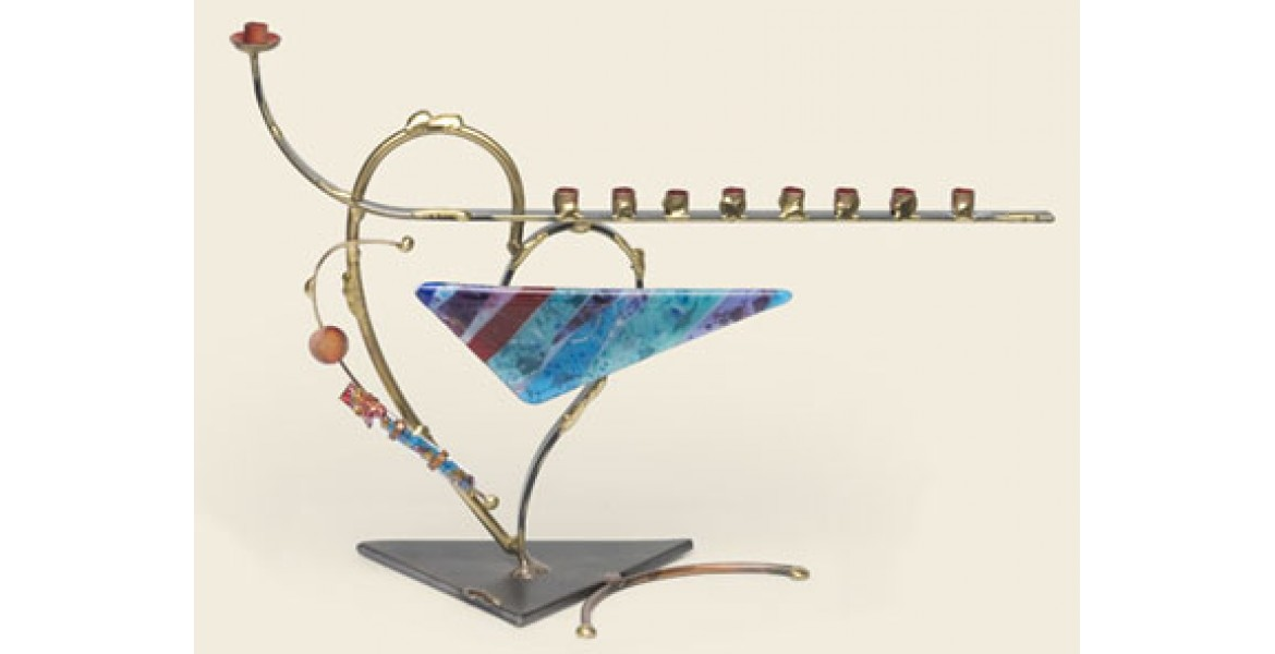 Two-toned heart menorah with wedding shards holder Designed By Gary Rosenthal
