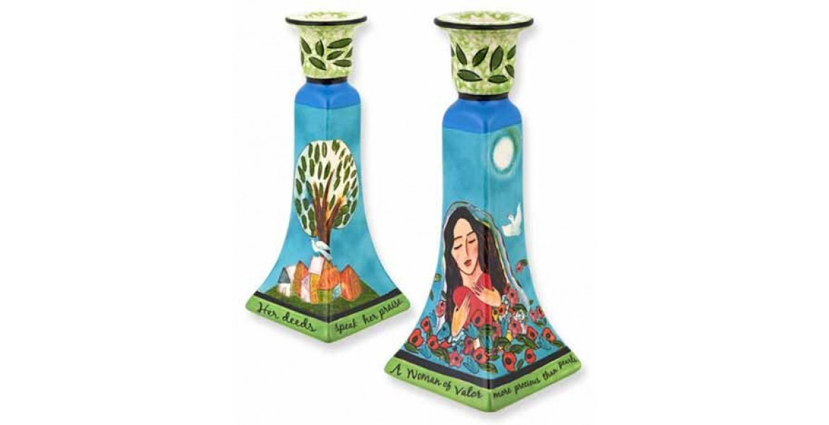 Woman of Valor Pair of Candlesticks