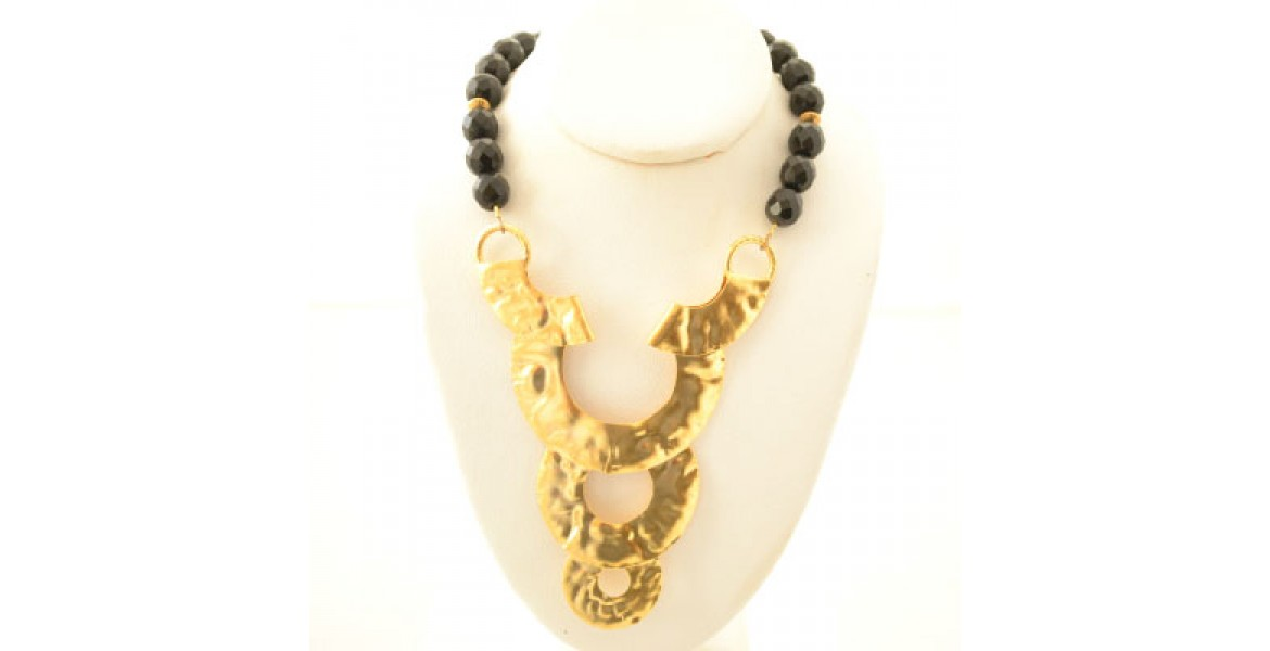 Black Beeded Necklace With Gold Disks