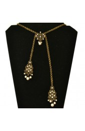 Bronse Finish Necklace With Pearls and Stones