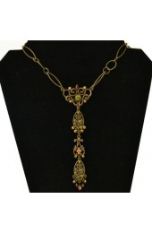 Bronse Finish Necklace with Green and Orange Stones
