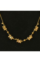 Gold Necklace with Floral Pattern and Stones