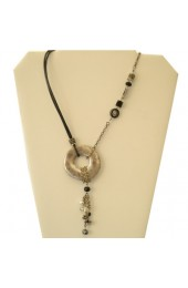 Leather Israeli Jeweled necklace