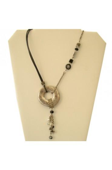 Leather Israeli Jeweled necklace