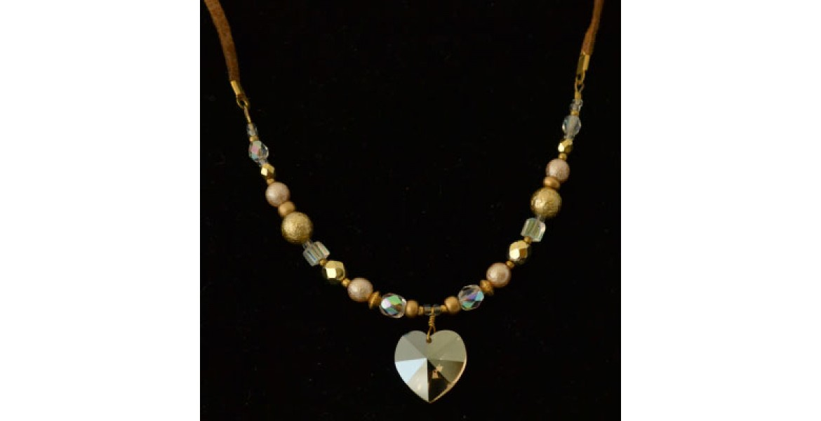 Sparkling Heart Crystal Necklace With Beads and Leather Strap