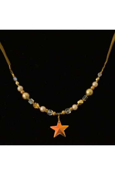 Sparkling Star Crystal Necklace With Beads and Leather Strap