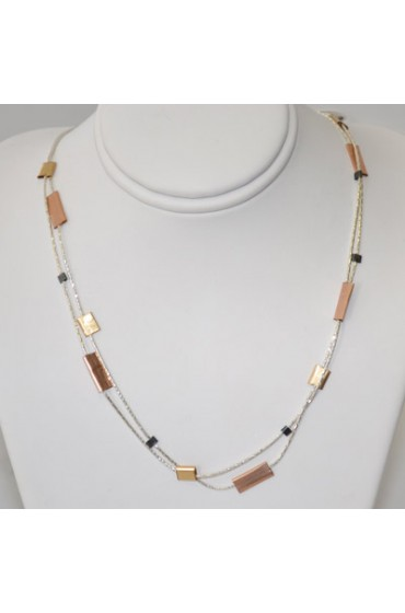 Double Strand Necklace With Gold, Copper and Black Accents