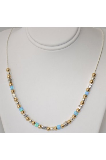 Gold, Silver and Blue Beaded Necklace