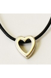 Heart on Black Leather Strap Necklace