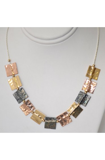 Necklace With Gold, Copper and Black Accents