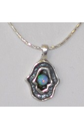 Silver Hamsa With Blue Stone Insert Necklace