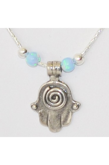 Silver Hamsa With Blue and Silver Beads Necklace