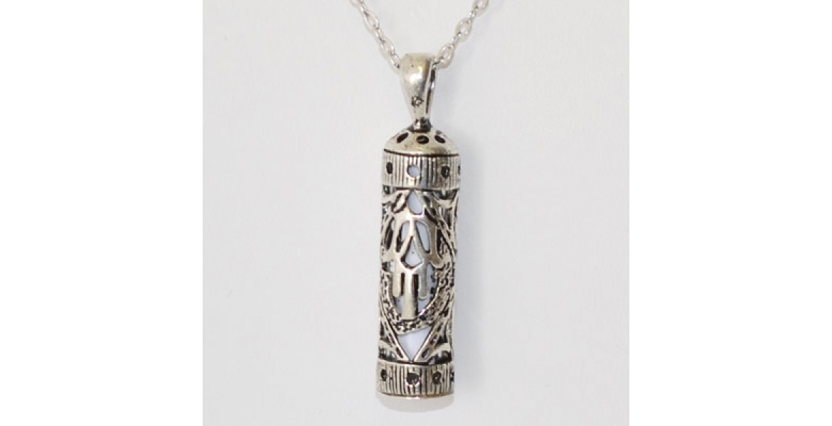 Silver Mezuzah With Hamsa Necklace