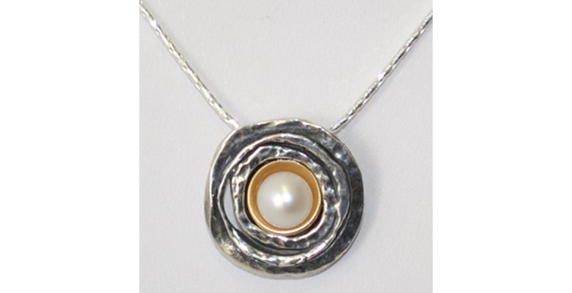 Silver Necklace with Silver Flower and Pearl Inset