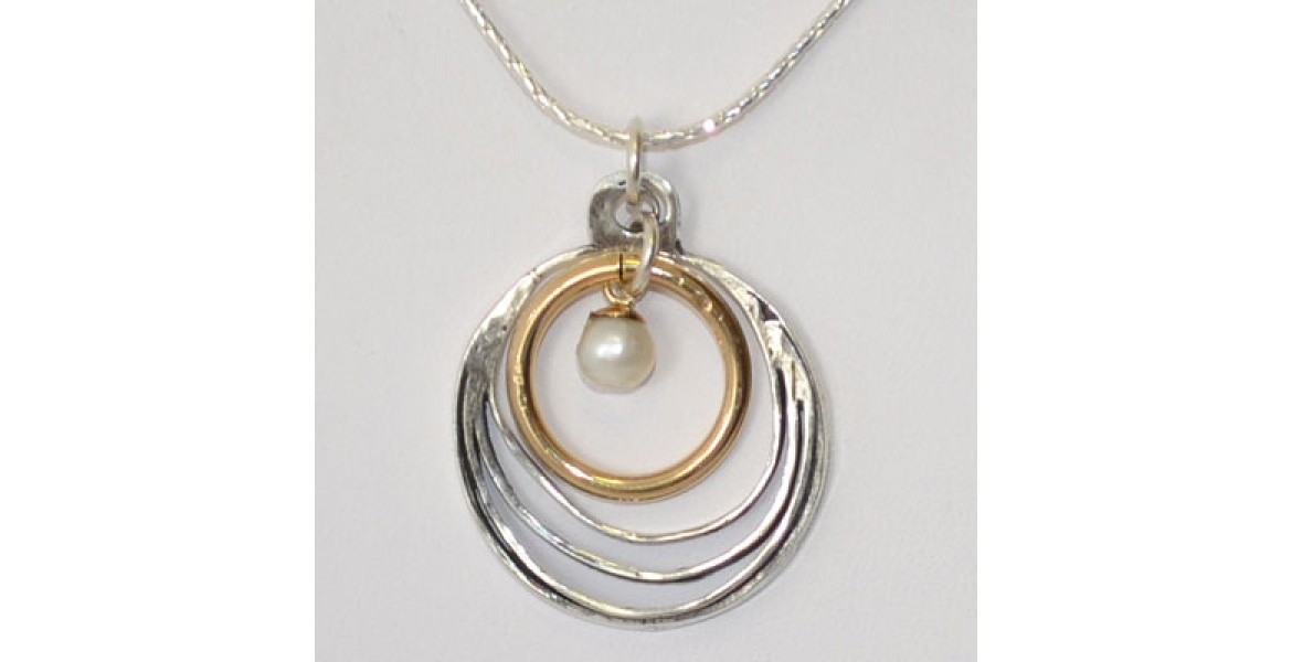 Silver Rings Necklace with Pearl