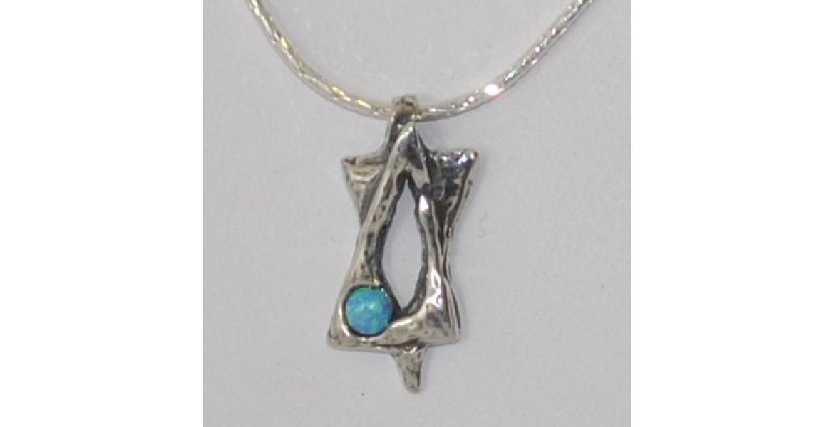 Silver Star Of David With Blue Stone Insert Necklace