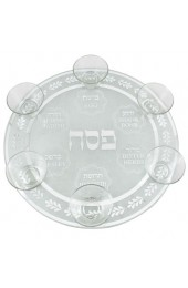 Glass Seder Plate With 6 Glass Cups