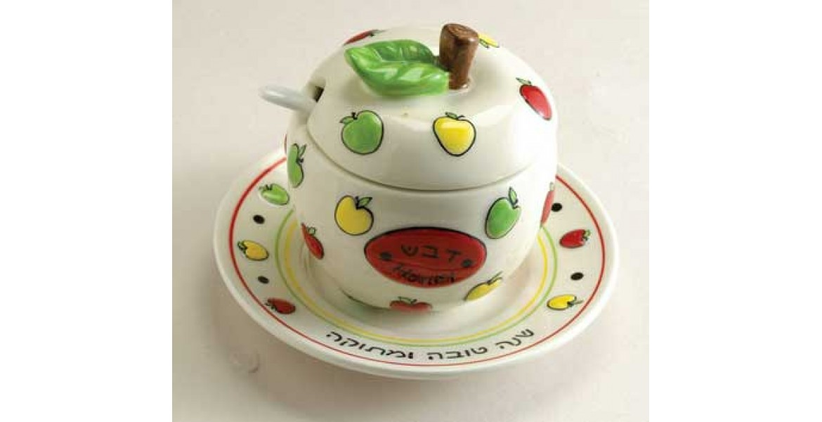 Ceramic Apple Honey Dish Set With Plate and Spoon