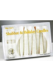 Premium Hand Crafted White Frosted Shabbat Candles - 12/Box
